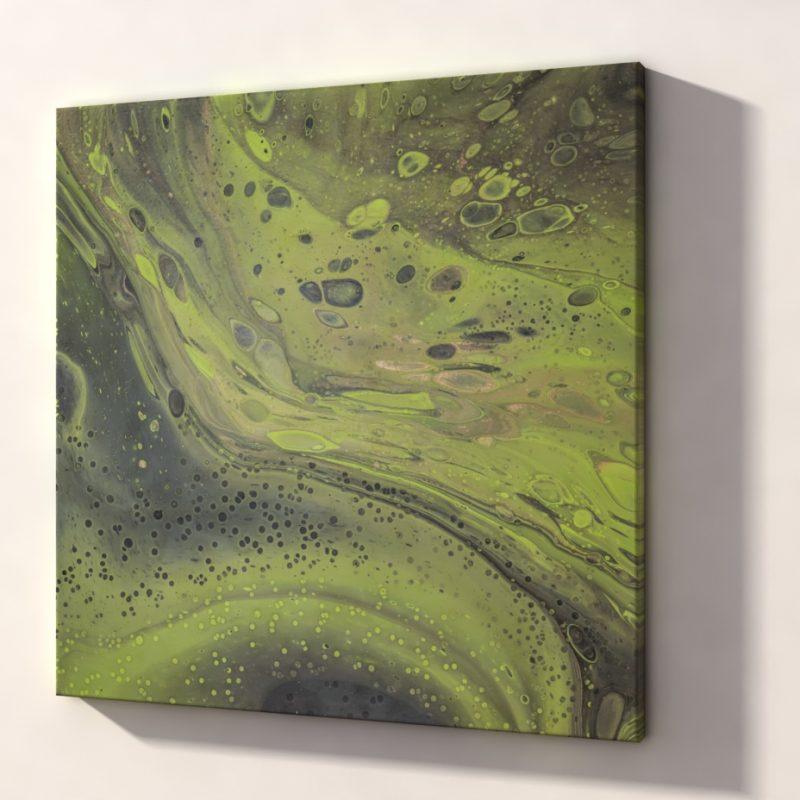 Abstract Art Green rocks on canvas