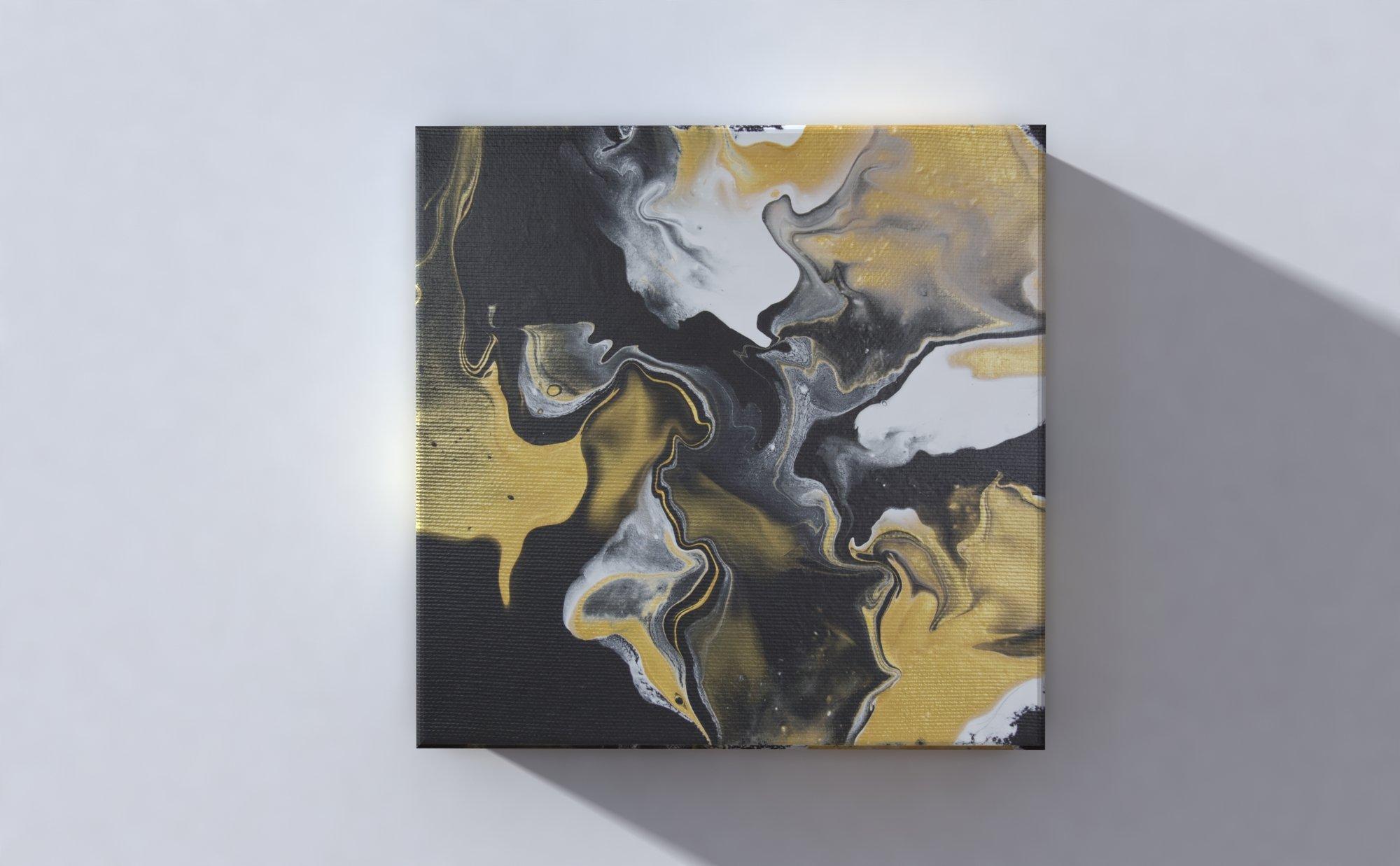 Abstract Art Black Gold on original canvas 3D Canvas